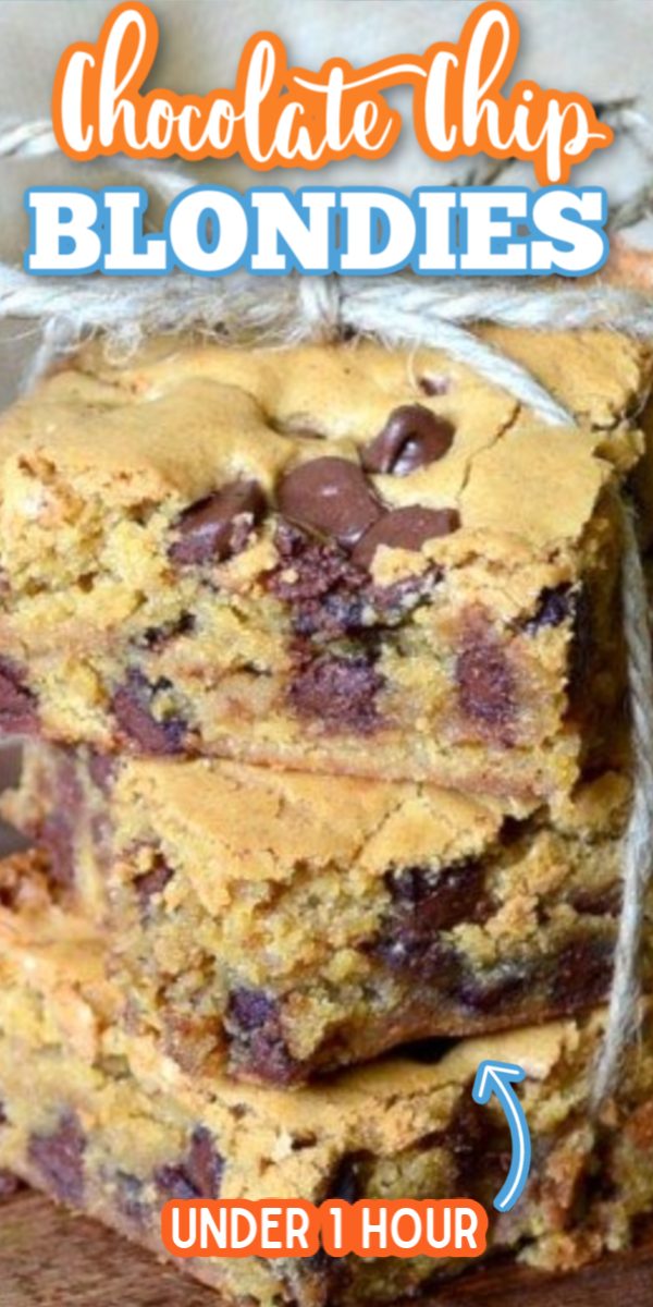 This easy Chocolate Chip Blondies recipe is the best! Gooey and chewy, these bars make the perfect dessert for any occasion! No need for Toll House, this recipe could not be easier! #gogogogourmet #chocolatechipblondies #blondiesrecipe #easycookiebars via @gogogogourmet