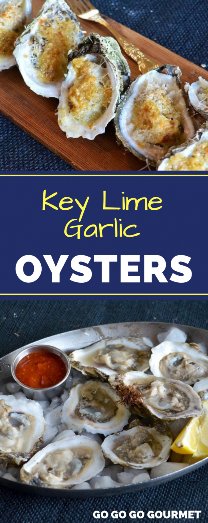 These Key Lime Garlic Oysters are one of the best oyster recipes! Baked (or even grilled!) oysters are so much easier to shuck! Serve with crackers, or even on the half shell for an awesome seafood appetizer! #gogogogourmet #keylimegarlicoysters #oysterrecipes #easyoysters via @gogogogourmet
