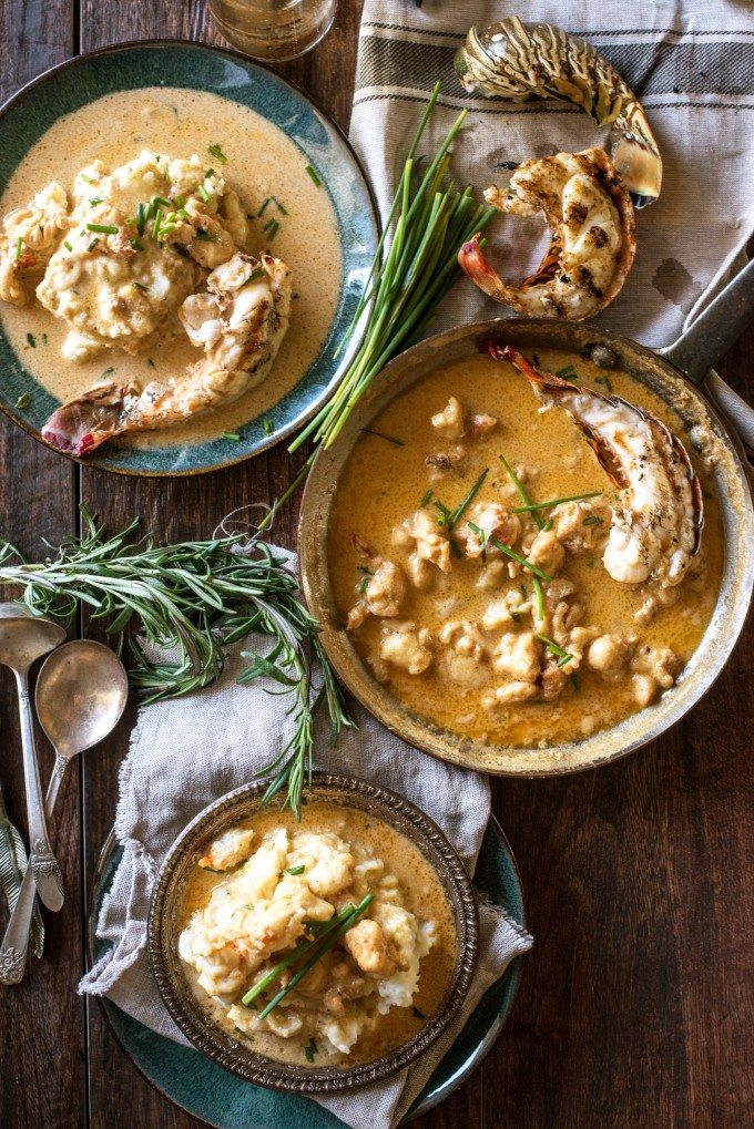 Overhead view of creamy lobster mashed potatoes