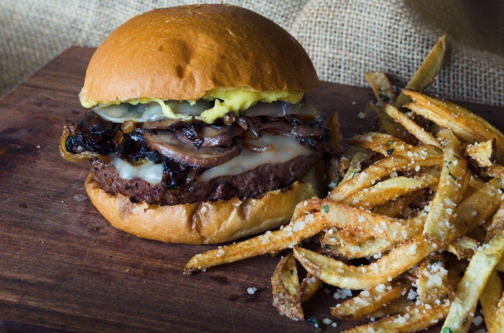 Mushroom Burger with Provolone, Caramelized Onions and Aioli | Go Go Go Gourmet @gogogogourmet