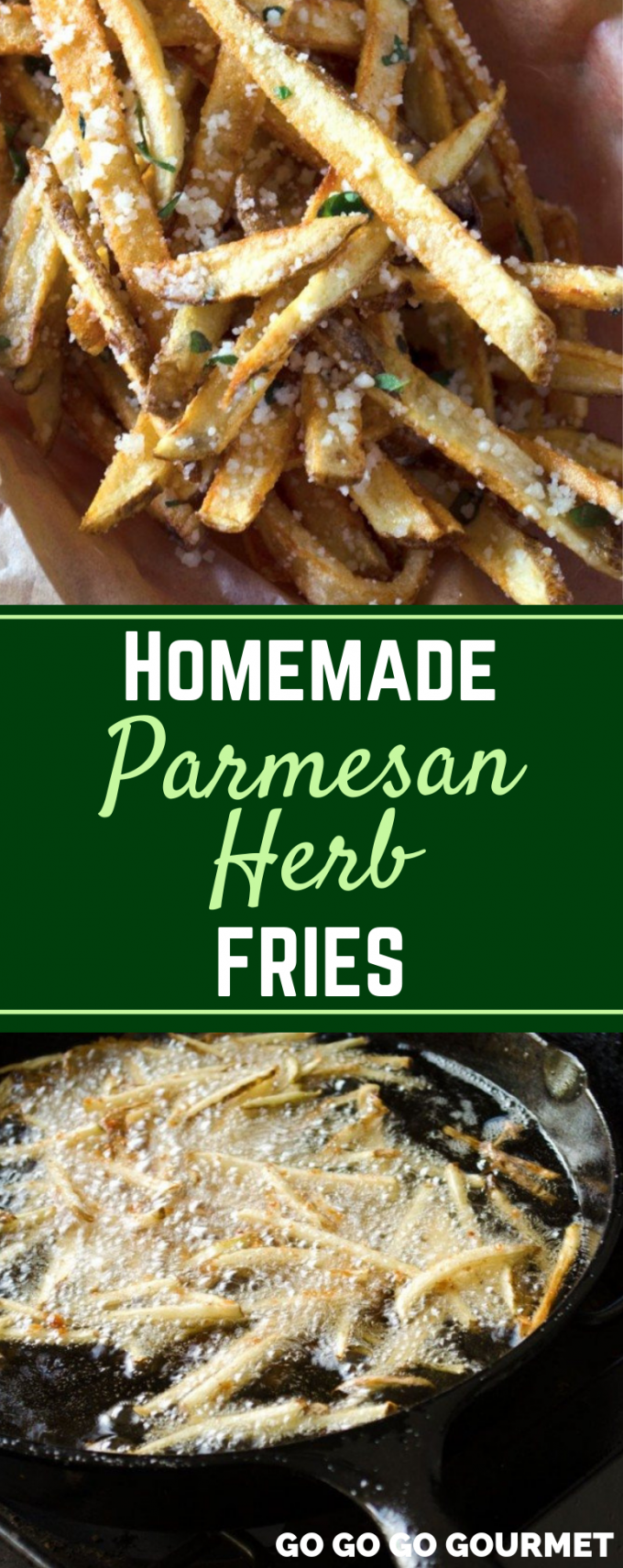 Forget the frozen fries, these homemade Parmesan Herb Fries are made with lots of garlic and fries in olive oil for a semi healthy side dish that everyone is sure to love! You won't believe how easy this recipe is! #gogogogourmet #parmesanherbfries #garlicparmesanfries #homemadefrenchfries via @gogogogourmet