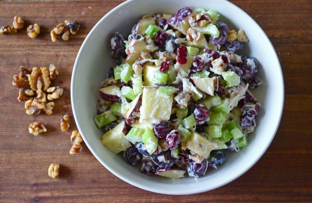 Waldorf Salad Apples Grapes Celery Walnuts And Cranberries Tossed With A Light