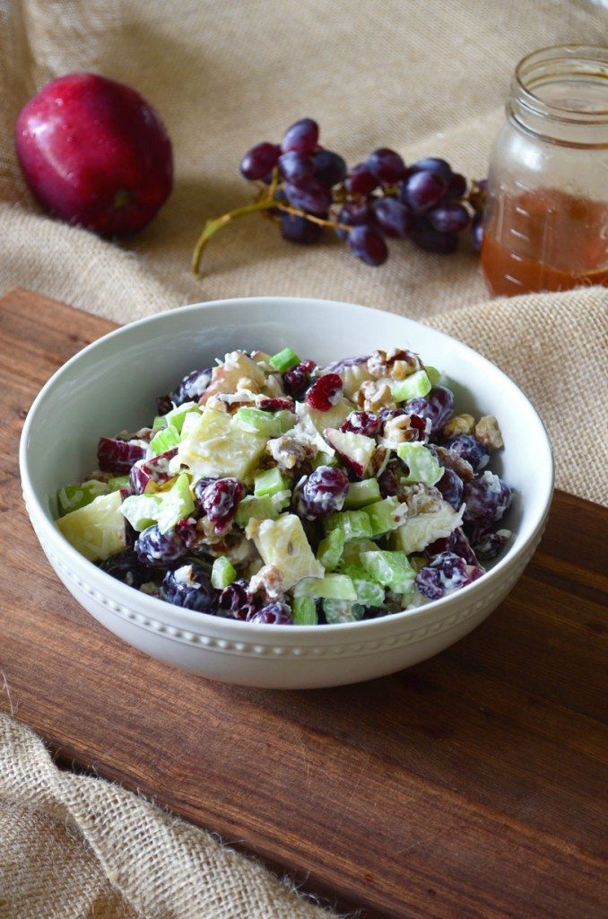 Waldorf Salad- apples, grapes, celery, walnuts and cranberries tossed with a light and tangy dressing | Go Go Go Gourmet