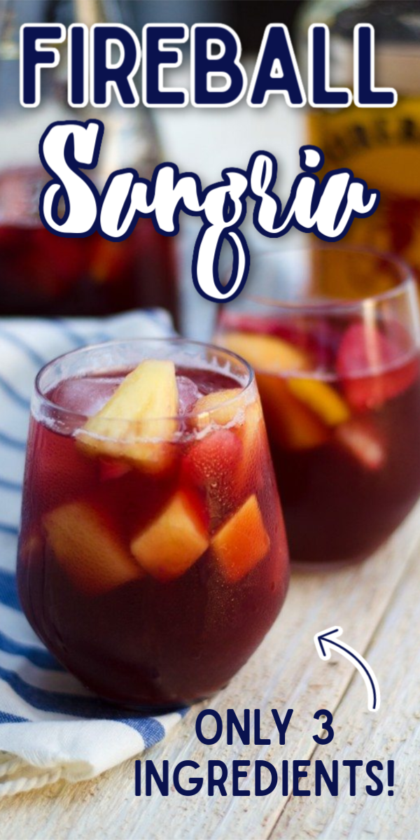 This easy Fireball Sangria recipe is not made with white wine, but red! It's refreshing and delicious making it a great summer cocktail. But it's perfect for holidays like Christmas or Thanksgiving, too! #gogogogourmet #fireballsangria #fireballsangriarecipe #redwinefireballsangria via @gogogogourmet