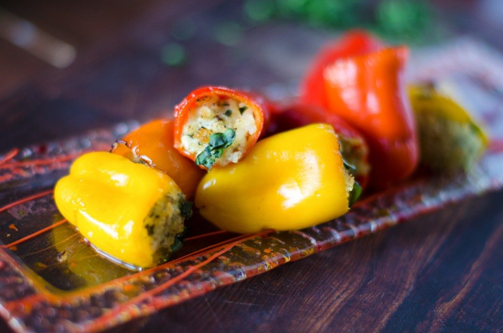 Pesto Goat Cheese Stuffed Peppers- 5 ingredients! | Go Go Go Gourmet @gogogogourmet
