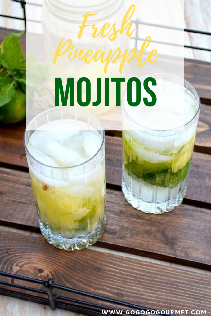 This easy Pineapple Mojitos recipe is made with fresh mint, pineapple and simple syrup, and it's the perfect refreshing drink for summer! Whether you make it by the pitcher or the glass, it's sure to become one of your favorite cocktail recipes! #gogogogourmet #pineapplemojitos #pineapplemojitorecipe #easymojitorecipes via @gogogogourmet