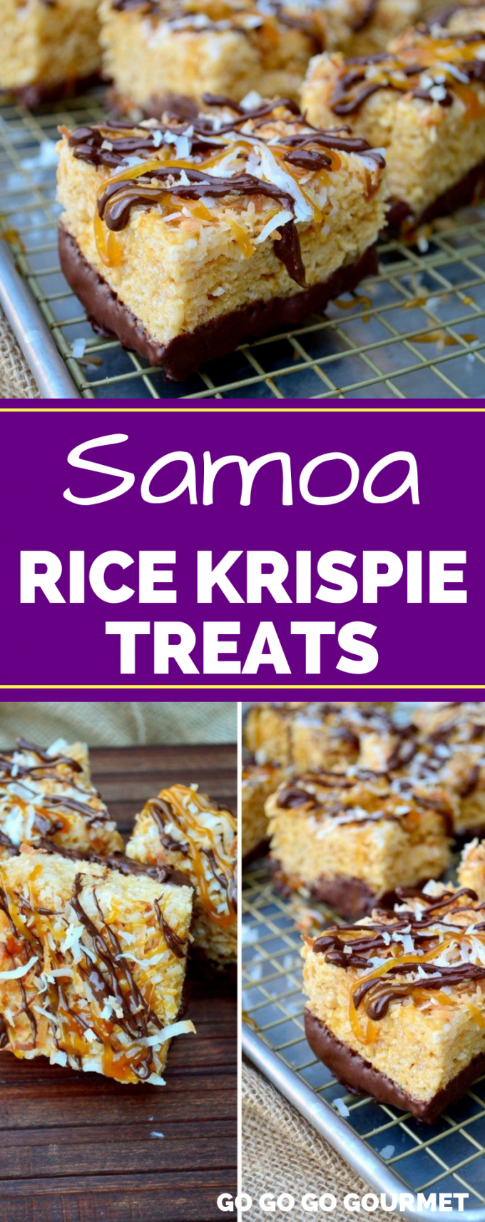These Samoa Rice Krispie Treats are reminiscent of your favorite Girl Scout cookie! With coconut, caramel and chocolate, you just can't go wrong! #gogogogourmet #samoaricekrispietreats #ricekrispietreats #homemadericekrispietreats via @gogogogourmet