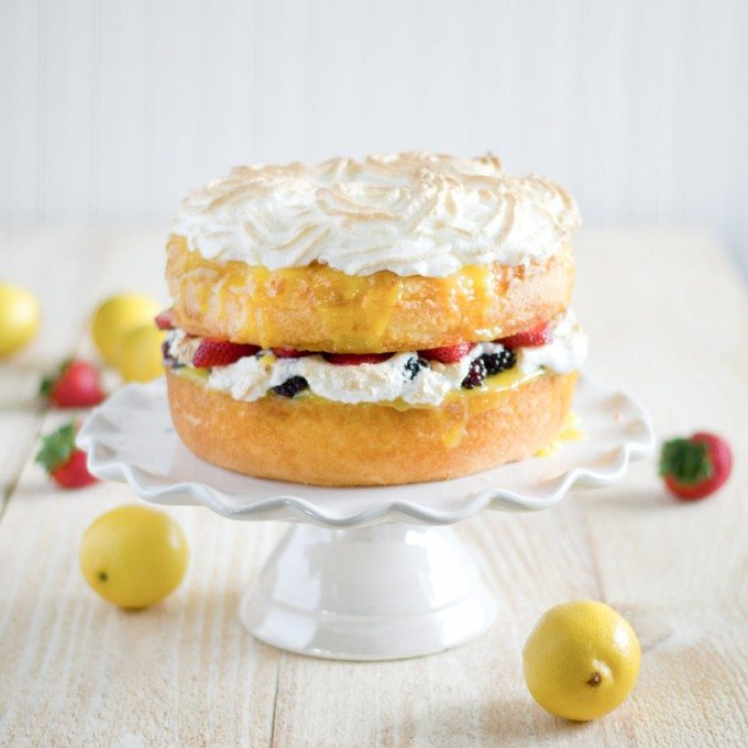 Angel Food Cake with Lemon Curd, Fresh Berries and Meringue Rosettes | Go Go Go Gourmet @gogogogourmet
