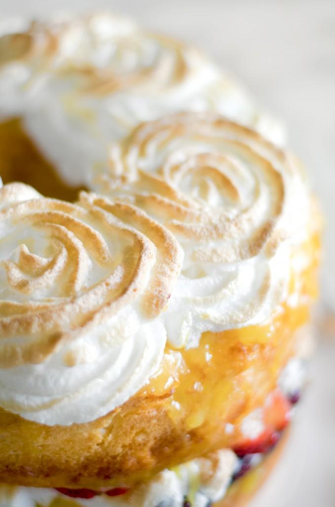 Angel food cake with lemon curd fresh berries and meringue rosettes angel food cake with lemon curd fresh berries and meringue rosettes go go go forumfinder Gallery