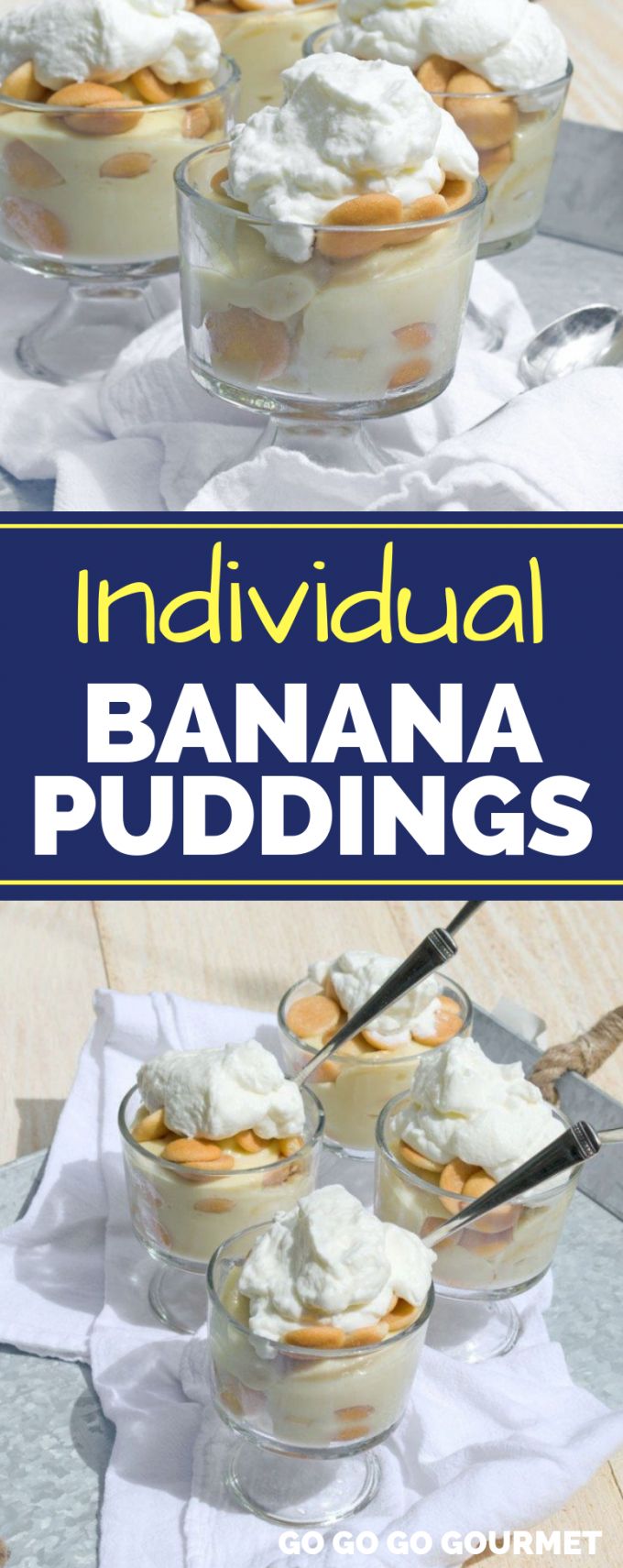 This easy homemade Banana Pudding recipe is perfect served in mini parfait dishes! This southern classic doesn't get any better than when it's made from scratch! #gogogogourmet #bananapudding #homemadebananapudding #homemadepudding via @gogogogourmet