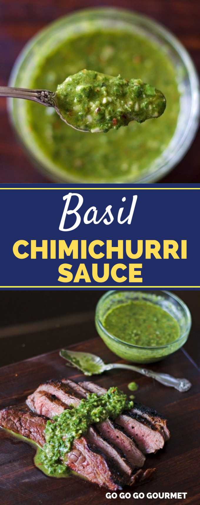 This easy Basil Chimichurri Sauce recipe is perfect for topping flank steak, chicken, or even grilled shrimp! Out of all of the sauces, this recipe is my absolute favorite! #gogogogourmet #basilchimichurri #basilchimichurrisauce #steakmarinade via @gogogogourmet