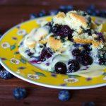 Blueberry Cobbler with Cinnamon Whiskey Crème Anglaise | Go Go Go Gourmet @gogogogourmet