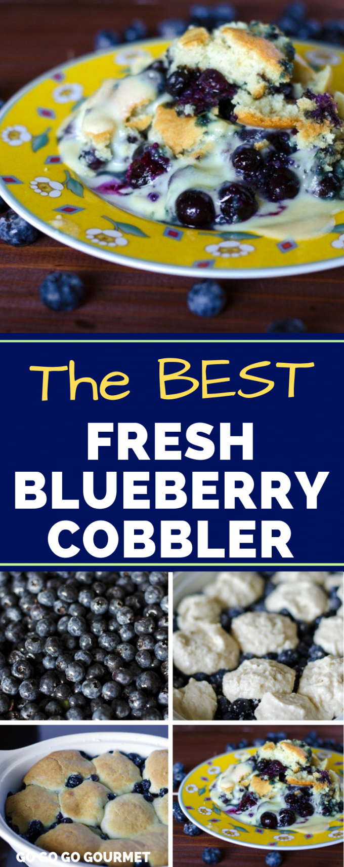 This easy Blueberry Cobbler in one of the best blueberry recipes! While it's not healthy, it's so delicious that it might even rival the Pioneer Woman! Fresh, homemade blueberry desserts don't get better than this. #gogogogourmet #blueberrycobbler #blueberryrecipes #bestblueberrycobbler via @gogogogourmet