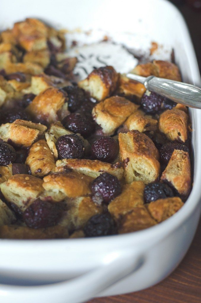 Dark Chocolate Cherry Croissant Bread Pudding | Go Go Go Gourmet @gogogogourmet