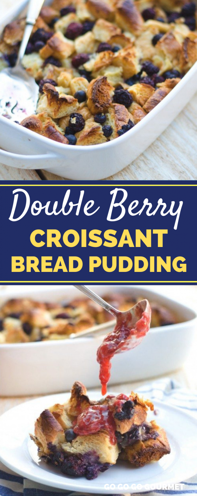 This easy Double Berry Croissant Bread Pudding recipe makes a great breakfast casserole or dessert! With flaky croissants, orange zest, strawberries, blackberries and blueberries, you are going to fall in love with this bread pudding recipe! #gogogogourmet #breadpudding #croissantbreadpudding #berrybreadpudding via @gogogogourmet