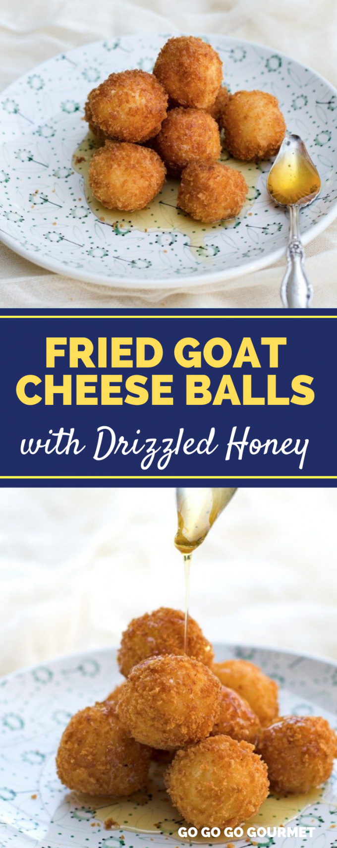These easy Fried Goat Cheese Balls with Honey make the best appetizers. You can't beat that crispy outside and soft, melty cheese inside! They would even be a great topping for a summer salad! #gogogogourmet #friedgoatcheeseballs #friedgoatcheese #easyappetizers #summerappetizers via @gogogogourmet