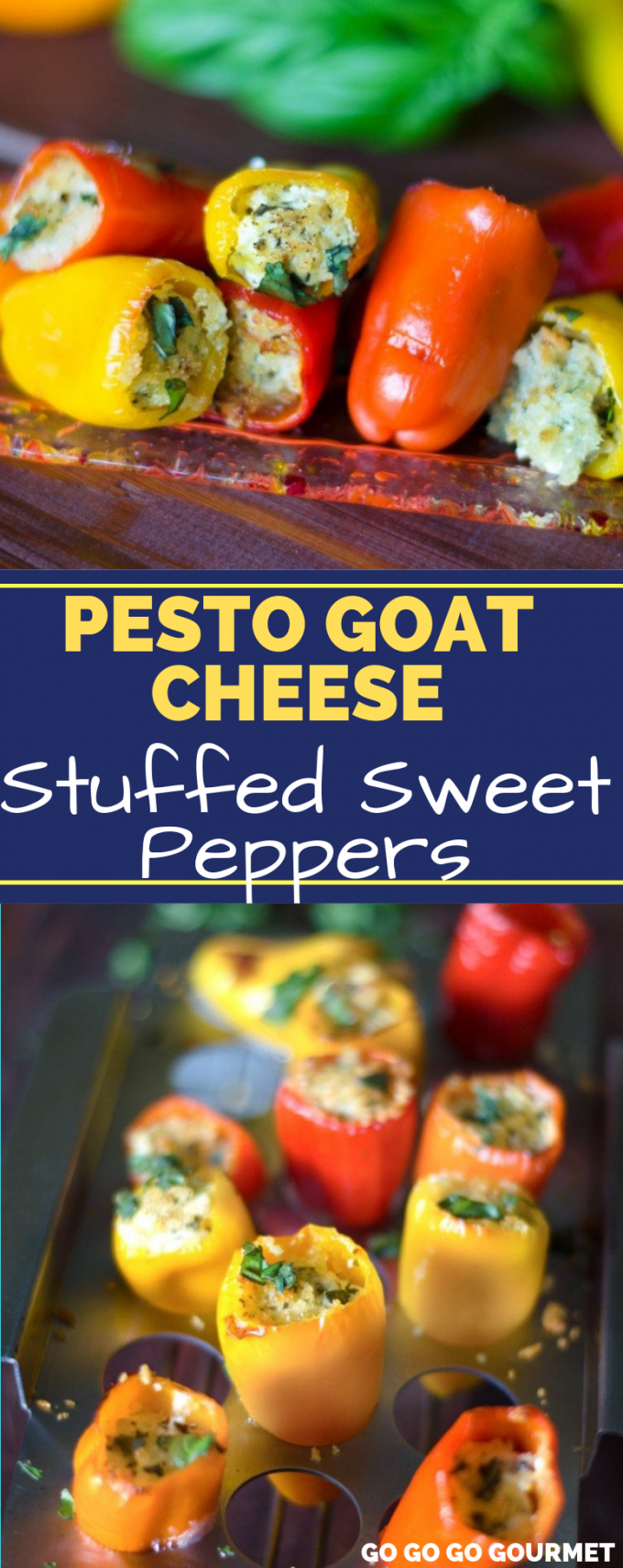 These Pesto Goat Cheese Stuffed Sweet Peppers make the perfect appetizers! Whether you serve them cold or warm, these little bites make a great party food! It will easily become one of your go-to recipes! #gogogogourmet #pestogoatcheesestuffedpeppers #goatcheesestuffedpeppers #stuffedpeppers #partyappetizers #easyappetizers via @gogogogourmet