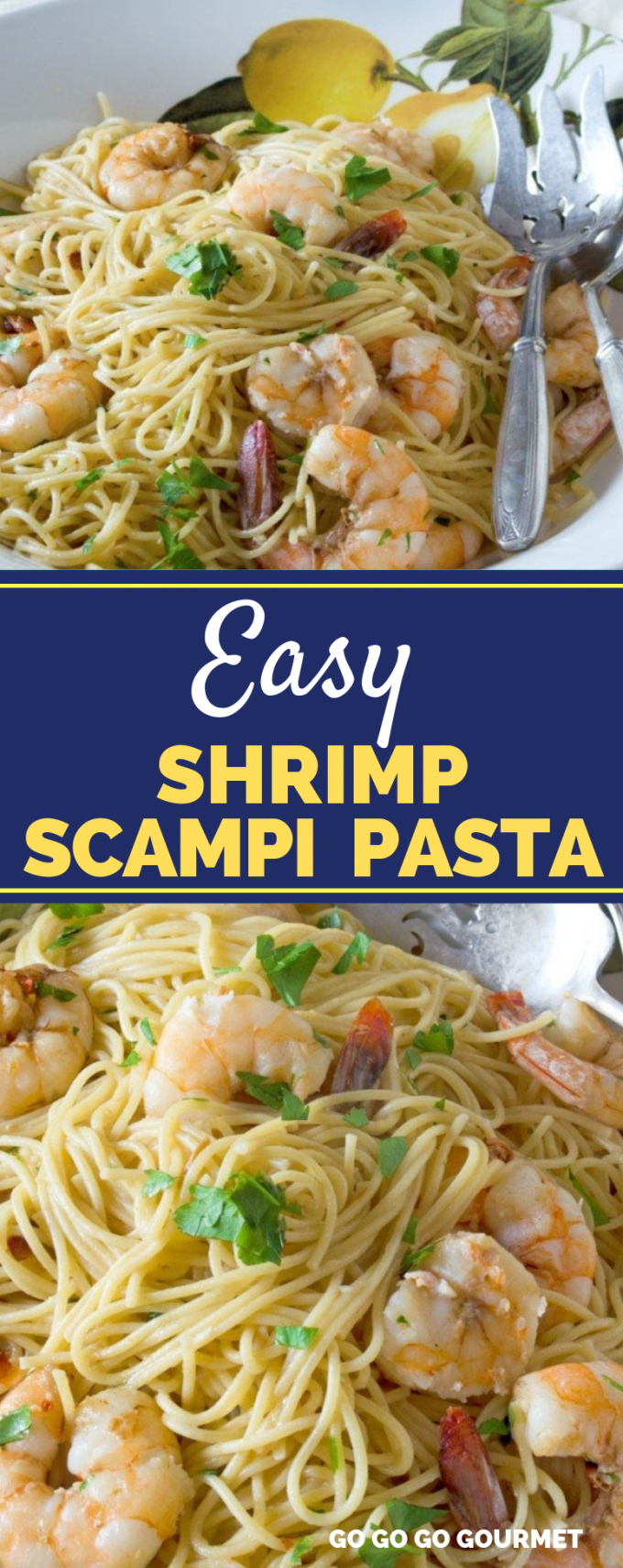 This easy Shrimp Scampi recipe is perfect if you're craving pasta for dinner! With ingredients like garlic, lemon and white wine, it just can't be beat! #gogogogourmet #shrimpscampi #easyshrimpscampi #pastarecipes #easydinners via @gogogogourmet