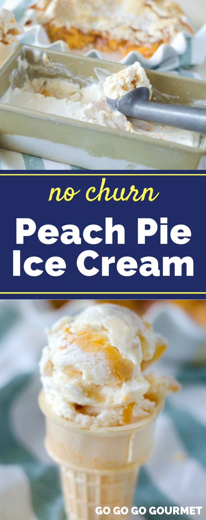 This easy No Churn Peach Pie Ice Cream recipe has everything you love about peach pie turned into a cool, sweet dessert for summer! It has all the benefits of homemade ice cream without using an ice cream maker. #nochurnicecream #peachpieicecream #summerdesserts #gogogogourmet via @gogogogourmet