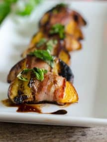 Bacon Wrapped Peaches with Basil and Balsamic | Go Go Go Gourmet @gogogogourmet