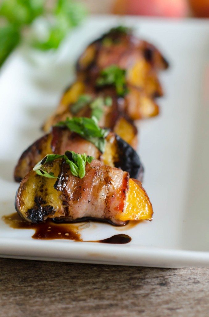 Grilled Bacon Wrapped Peaches with Basil and Balsamic | Go Go Go Gourmet @gogogogourmet