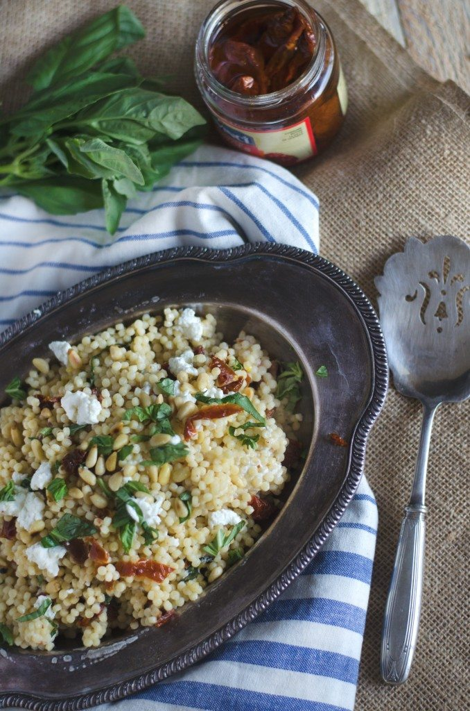 Israeli Couscous with Sun Dried Tomatoes, Basil and Goat Cheese | Go Go Go Gourmet @gogogogourmet