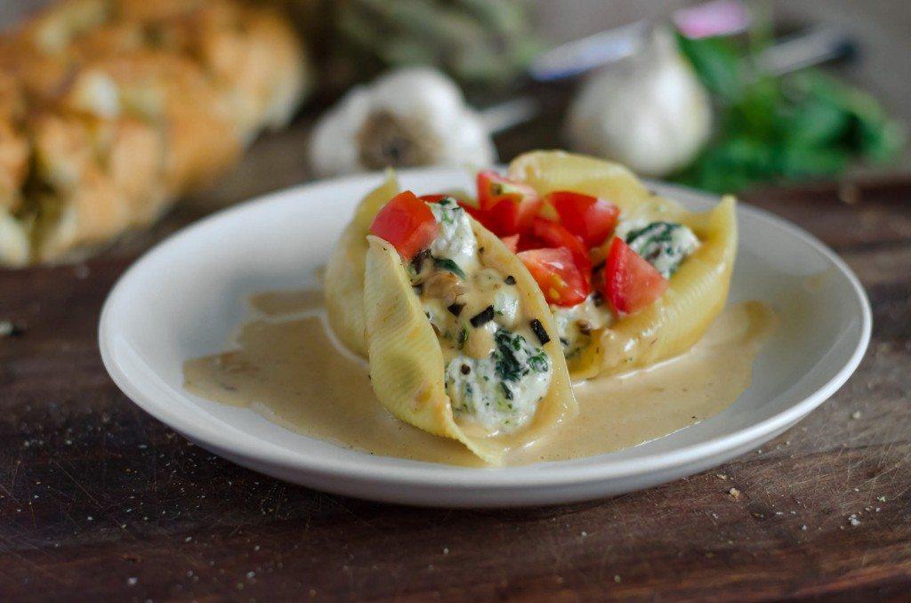 Spinach, Artichoke and Portobello Stuffed Pasta Shells with a Creamy Marsala Sauce | Go Go Go Gourmet @gogogogourmet