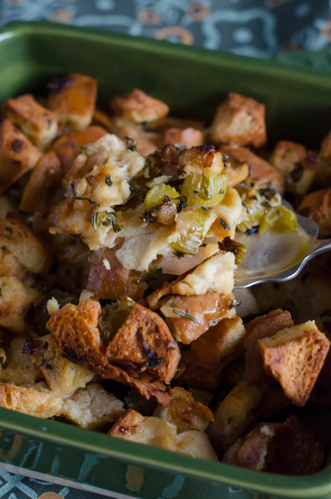 Thanksgiving recipes, stuffing in a green baking dish