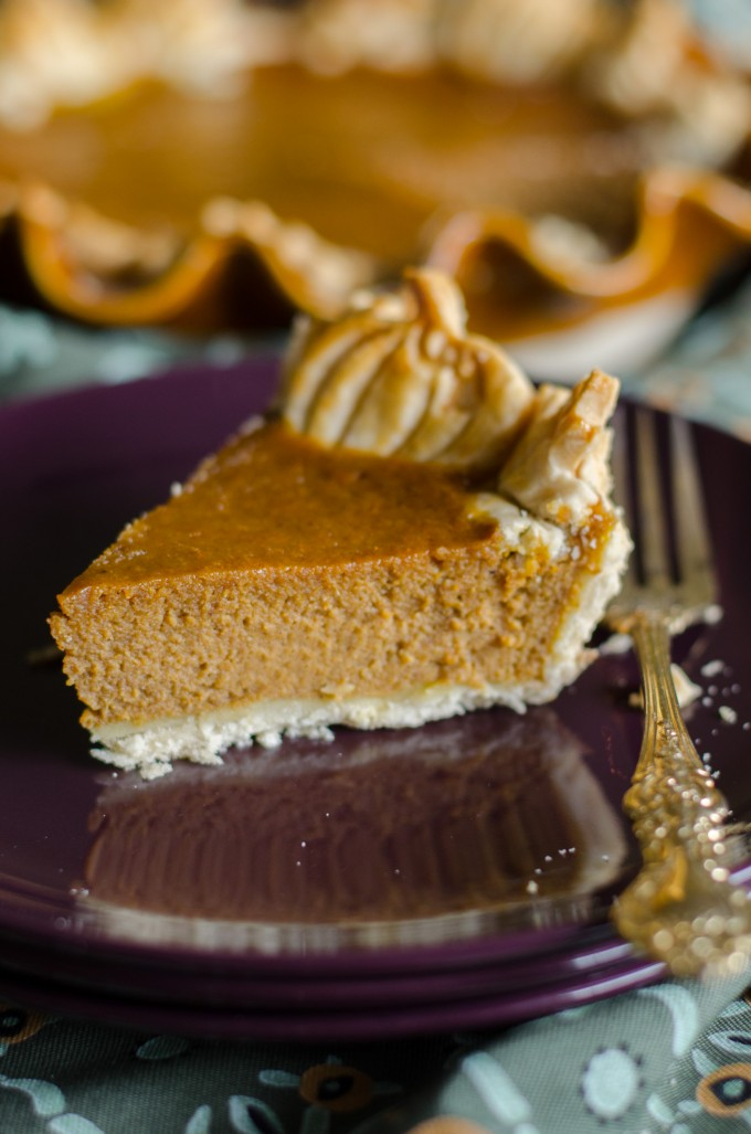 Thanksgiving recipes, slice of pumpkin pie on a purple plate