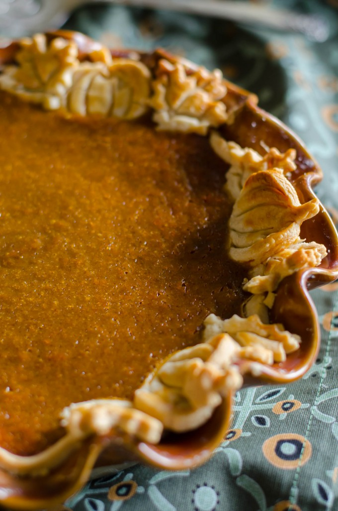 Close up of pumpkin chiffon pie