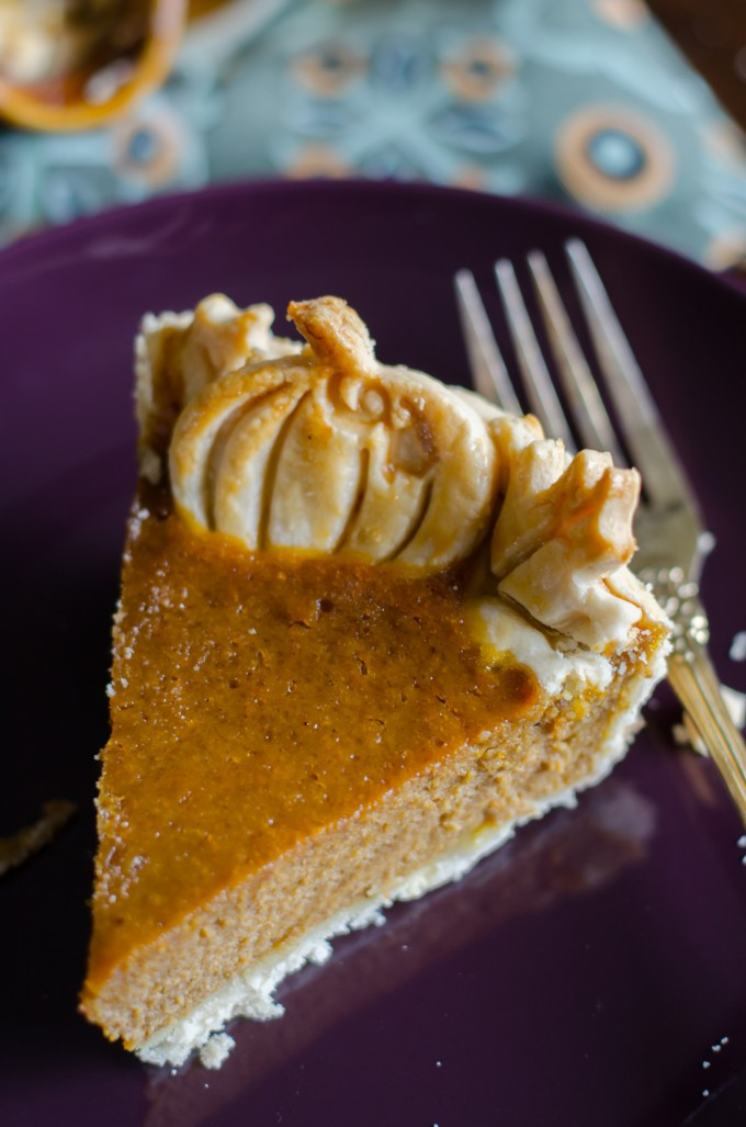 Overhead view of slice of pumpkin chiffon pie