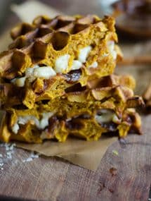 Pumpkin Waffle Sandwiche with Apple Butter and Brie | Go Go Go Gourmet @gogogogourmet