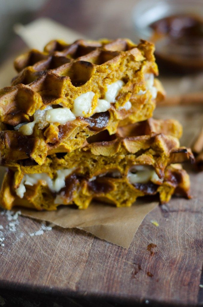 Pumpkin Waffle Sandwiche with Apple Butter and Brie | Go Go Go Gourmet @gogogogourmet