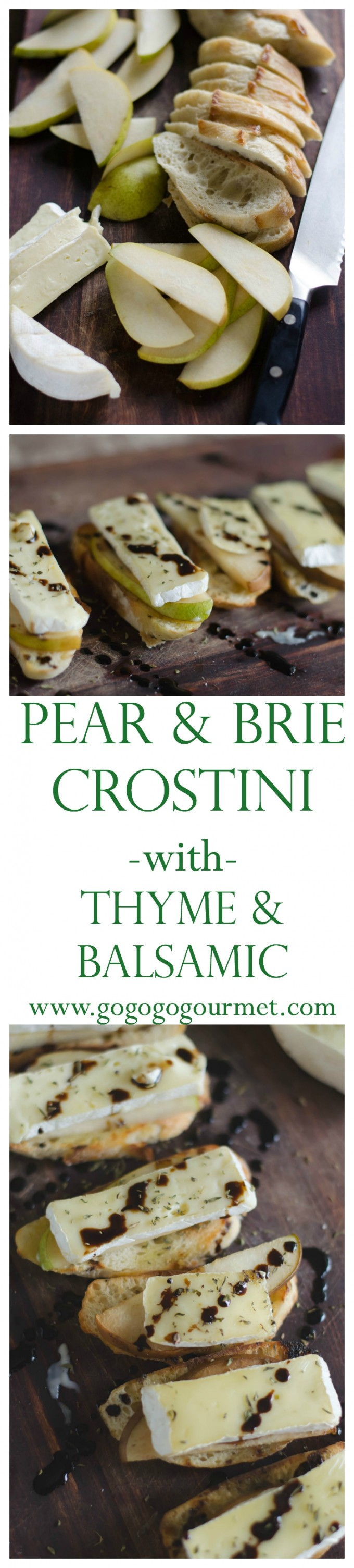 This Pear and Brie Crostini with Balsamic and Thyme is the ultimate snack or appetizer- fast to make, almost no dishes, and everyone loves them! via @gogogogourmet