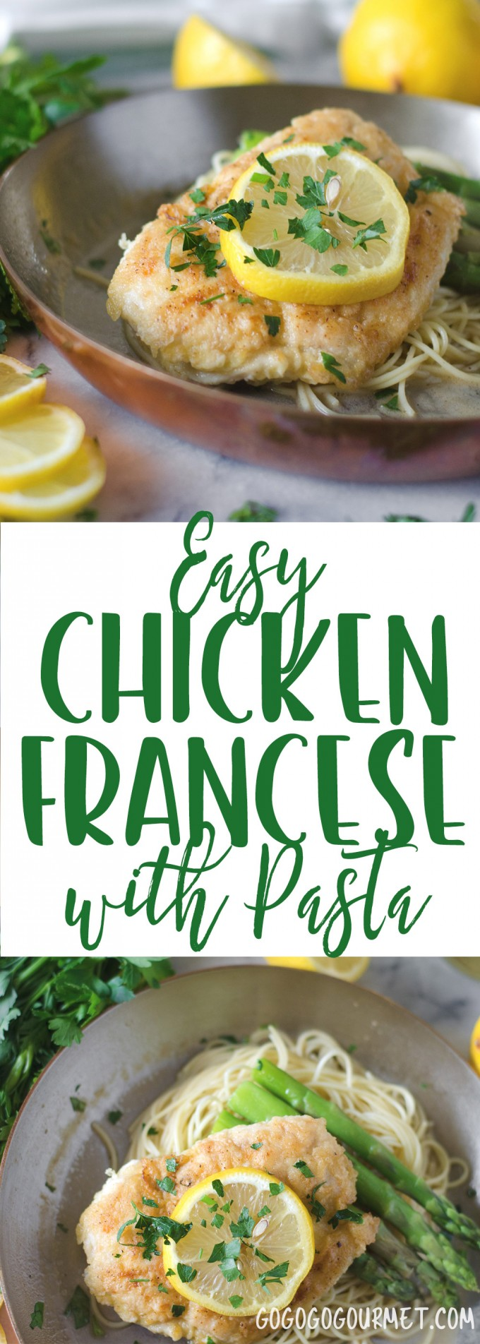 This Chicken Francese Recipe is a fast, 30 minute meal, perfect for those busy weeknights! Only requires a few basic ingredients, and great over pasta! |
