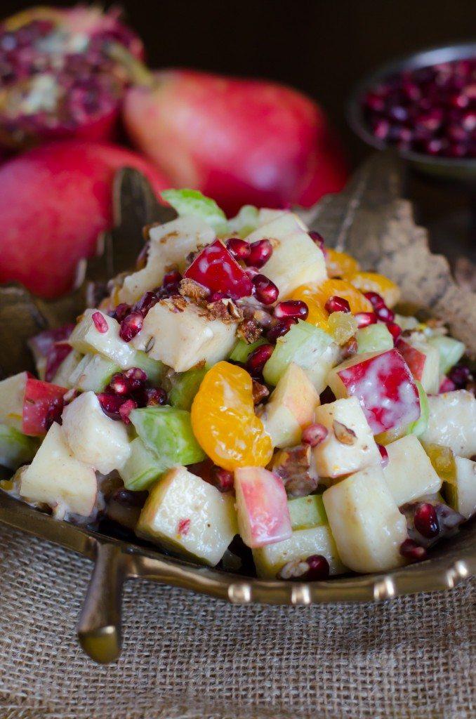 Fall Waldorf Salad- put those beautiful apples, pears and pomegranates to good use! | Go Go Go Gourmet @gogogogourmet