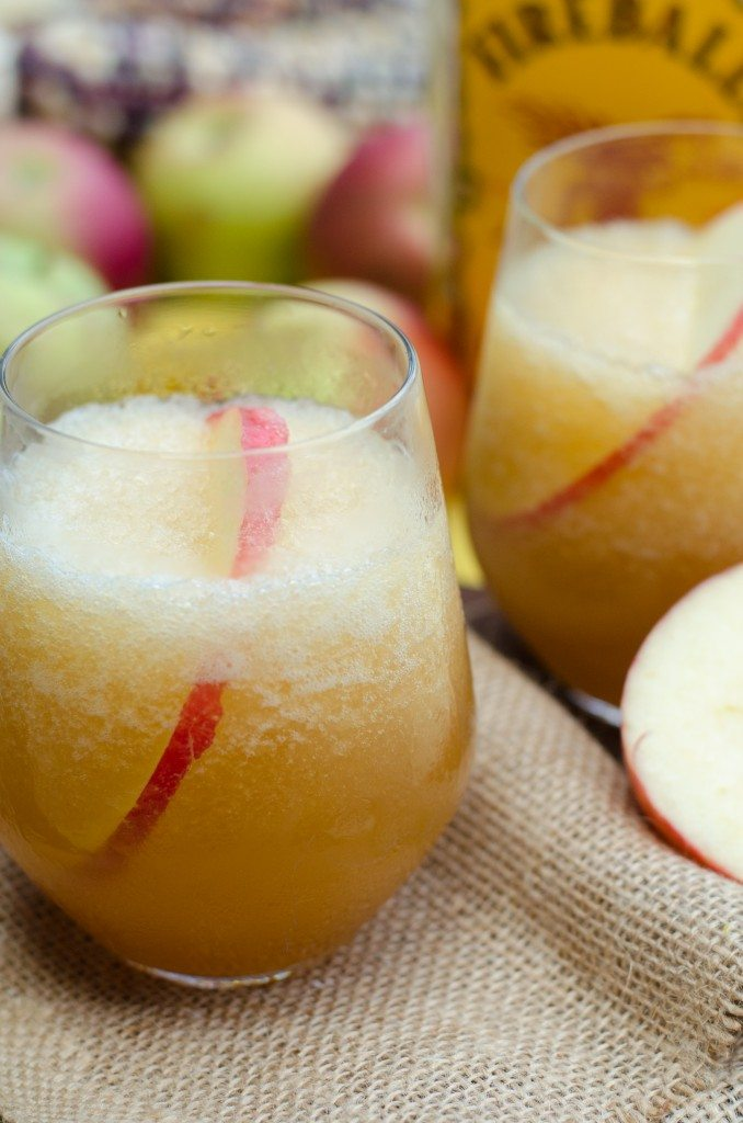 Close up of apple cider fireball cocktails