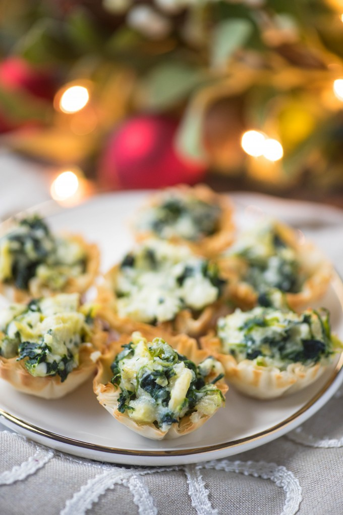 Spinach Artichoke Dip Baked Phyllo Cups Appetizers