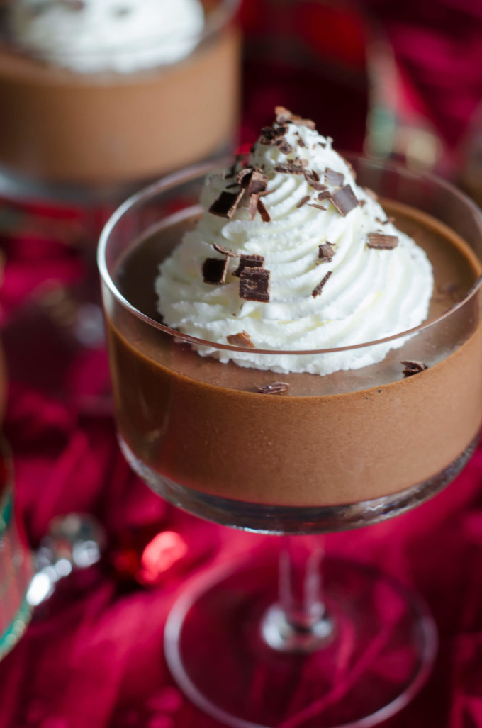 Dark Chocolate Mousse topped with whipped cream - christmas desserts