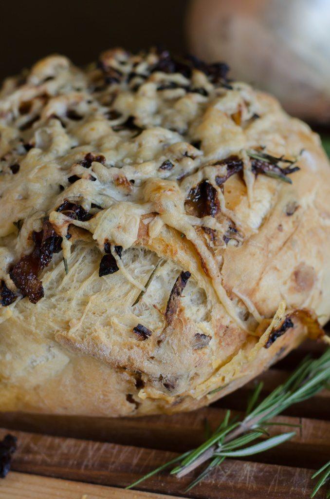 Rosemary and Caramelized Onion Olive Oil Crusty Bread | Go Go Go Gourmet @gogogogourmet