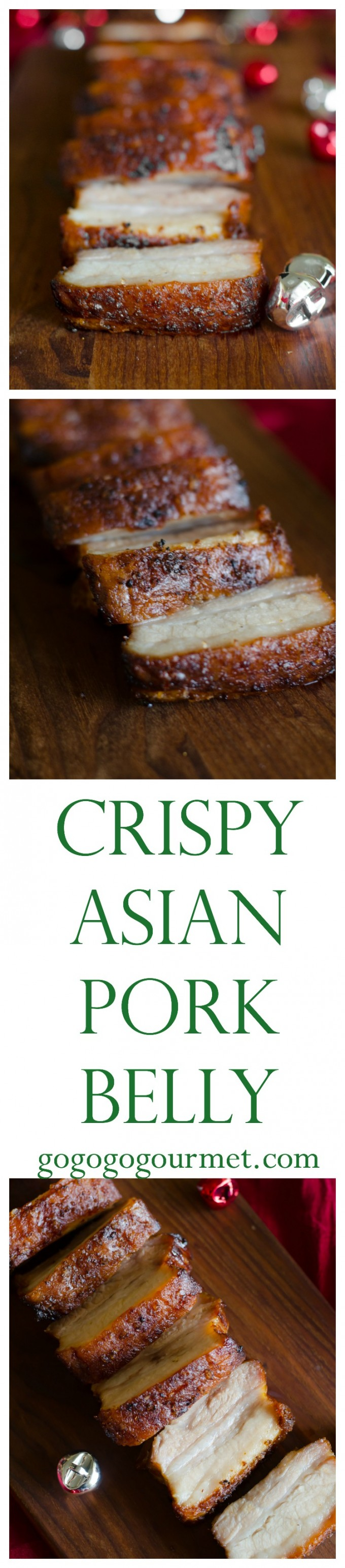 This Crispy Pork Belly is marinated in Asian flavors, then roasted with a salt crust for crispy skin and tender meat. No scoring required! via @gogogogourmet