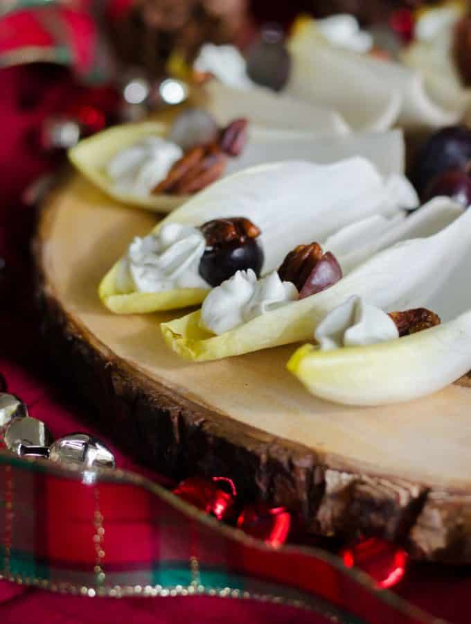 Endive with Blue Cheese Mousse, Cajun Pecans and Grapes