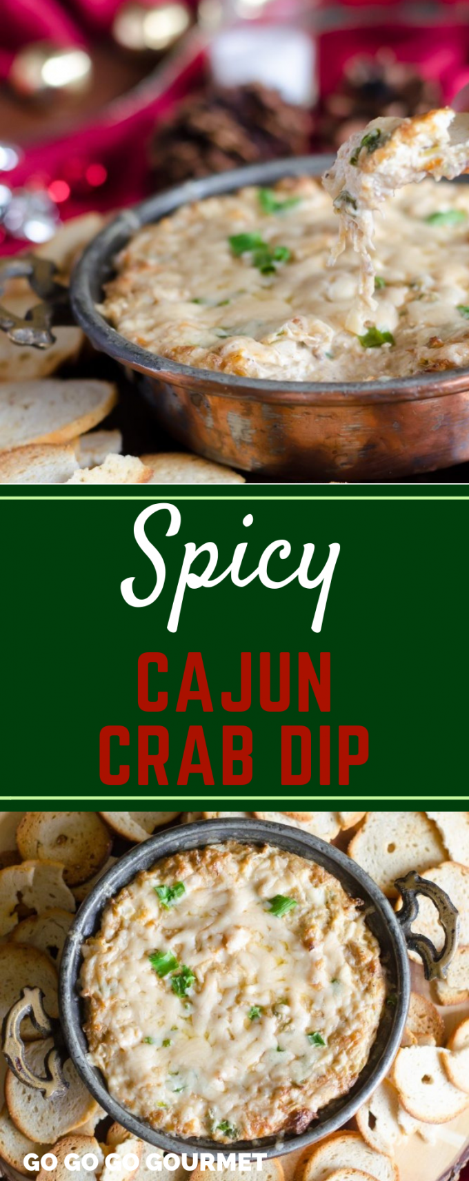 This easy Cajun Crab Dip recipe is spicy, but not too hot! It's ideal for serving as an appetizer during the holidays! #GoGoGoGourmet #SpicyCajunCrabDip #HolidayAppetizers #ChristmasAppetizers #HolidayRecipes