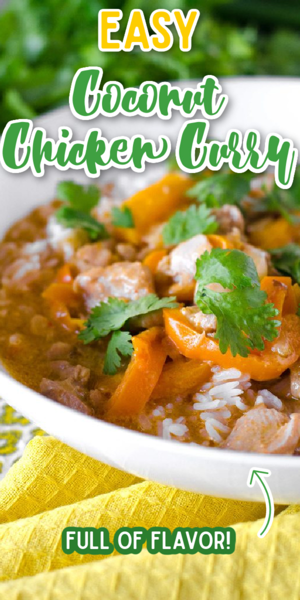 This EASY Coconut Chicken Curry recipe is a total comfort food win! Plus you can have it on the table in less than 30 minutes! #gogogogourmet #coconutchickencurry #comfortfood #chickencurry via @gogogogourmet