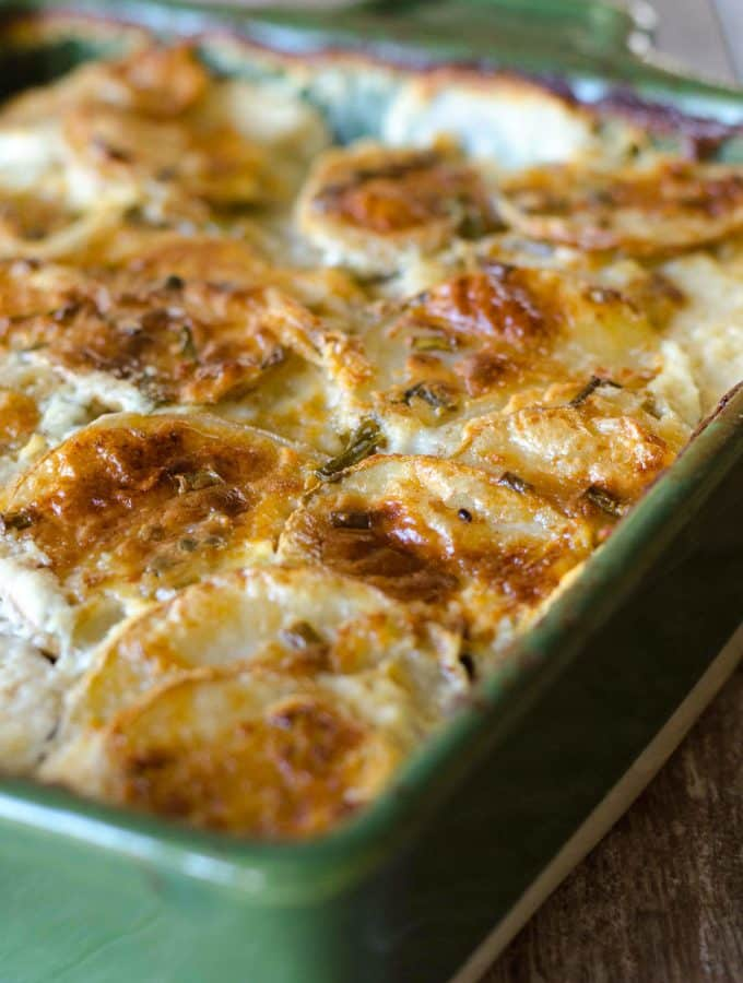 Goat Cheese and Chive Creamy Scalloped Potatoes
