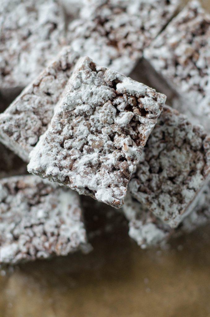 Muddy Buddy / Puppy Chow Rice Krispie Treats | Go Go Go Gourmet @gogogogourmet