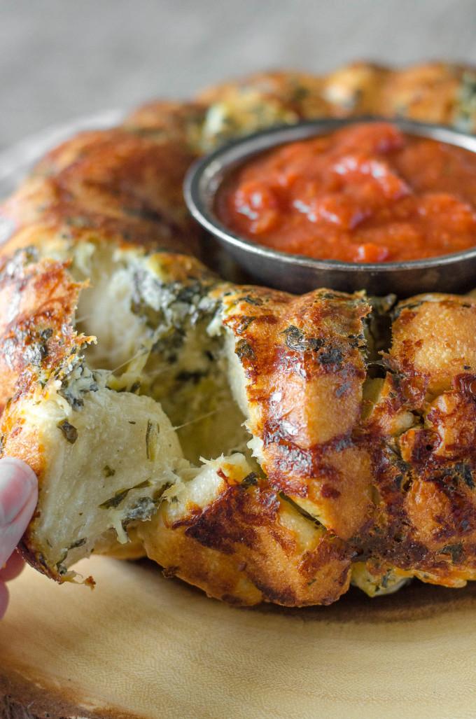 Pull Apart Cheese Stuffed Spinach Artichoke Bread Go Go Go