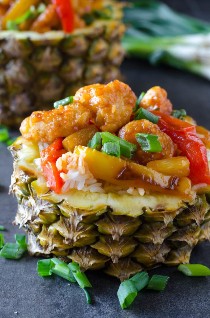 Sweet and Sour Chicken in Pineapple Bowl | Go Go Go Gourmet @gogogogourmet