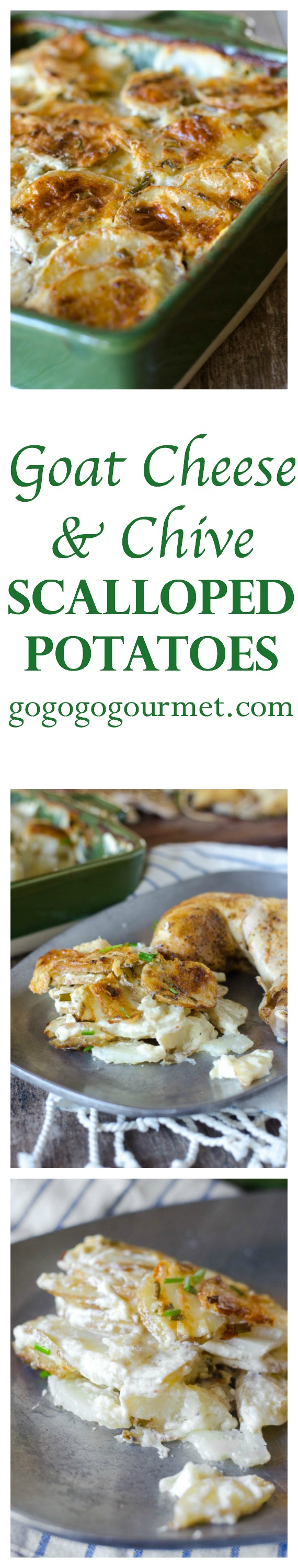 These Goat Cheese & Chive Potatoes are incredibly creamy AND easy to make! | Go Go Go Gourmet @Go Go Go Gourmet via @gogogogourmet