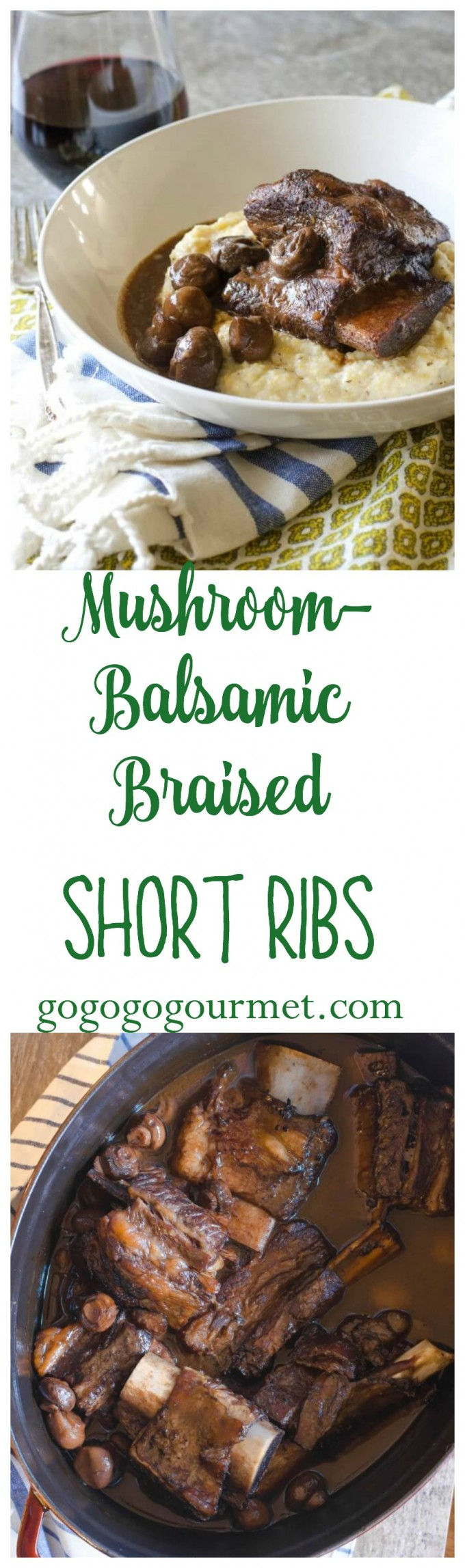 With just a few ingredients and 10 minutes, you can have these Mushroom Balsamic Braised Short Ribs in the oven braising! #gogogogourmet #braisedshortribs #shortribs via @gogogogourmet